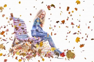 a-girl-sitting-on-bench-looking-a-squirrel-between-falling-autumn-leaves-color-pencil-drawing